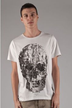 Fly53 Glitch graphic skull print white t tee shirt