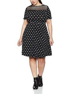 24, Black (Black), Dorothy Perkins Curve Women's Floral Mesh Yoke Dress NEW
