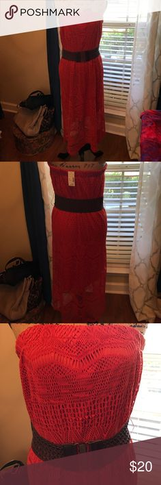 Maurices burnt orange strapless dress. Sz 0=14/16 Size 0 or 14/16. Textured lace strapless dress. NWT never worn. Comes with wide brown belt. Lined to just about knees then see through textured lace. Too small for me. Maurices Dresses Strapless