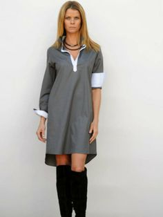 It's the easy, breezy fitted shirtdress you can throw on when you can't spend too much time contemplating your outfit. Shirtdresses like C +K's Taylor version, take the guesswork out of dressing without comprising one iota of style.  Simple to dress up or down, this shirtdress features a circle hem that subtly brings the length up in front and circles around the back to a 2-inch longer length. The collar and front placket are cut in a contrasting white oxford cloth, while the 4-inch long…