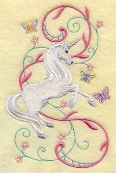 Unicorn Prancing in Fantasy Garden design (F2498) from www.Emblibrary.com