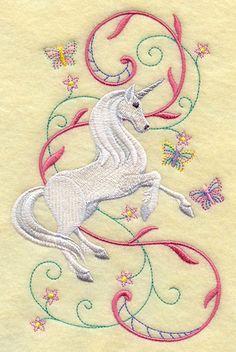 Unicorn Prancing in Fantasy Garden