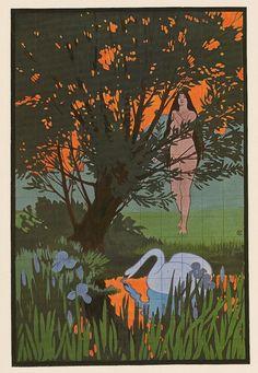 "herbstzeitlose: "" Leda and the Swan tile painting by Hans Christiansen, Kunst und Dekoration, 1898 (via) "" Art And Illustration, Fashion Illustration Vintage, Swan Painting, Tile Painting, Art Nouveau, Vienna Secession, Vintage Magazines, Deco, Art Sketches"