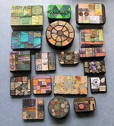 students works from my workshop on the weekend Polymer Clay Mosaic Boxes Fimo Polymer Clay, Diy Fimo, Crea Fimo, Polymer Clay Projects, Polymer Clay Creations, Polymer Clay Jewelry, Clay Crafts, Inchies, Clay Box