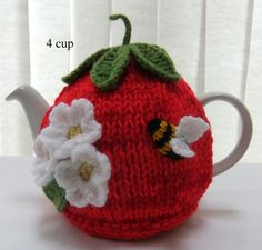 Hand knitted 4 cup Tomato tea cosy ♡ by Handmadewithlove66 on Etsy