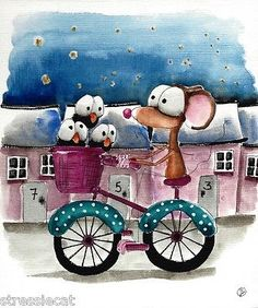 Original watercolor Folk Art whimsy illustration mouse crow bike starry village