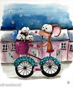 Original watercolor Folk Art whimsy illustration mouse crow bike starry village