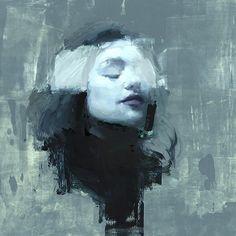 Jeremy Mann, Portrait Study, Rivi, 2015, Oil on Panel, 12 x 12 inches