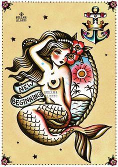 Susana Alonso Artwork Traditional Tattoo Art, Traditional Mermaid Tattoos, Pin Up Tattoos, New Tattoos, Body Art Tattoos, Cool Tattoos, Tatoos, Siren Tattoo, Bast Tattoo