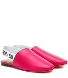 Givenchy - Leather slingback slippers - We love Givenchy's update to a classic comfort silhouette with these vivacious slippers. Crafted in Italy from ultra-smooth calfskin leather, this fuchsia style has been finished with a branded slingback strap for statement logo cool. Team yours with cropped denim and mini hemlines for the new season. seen @ www.mytheresa.com