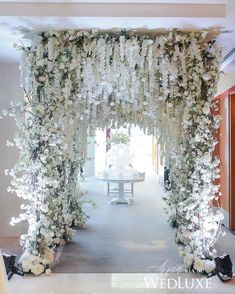 A White Wisteria and Silver Sparkle Dream - WedLuxe Magazine Church Wedding Decorations, Wedding Entrance, Wedding Themes, Wedding Centerpieces, Wedding Church, Wedding Ideas, Garden Wedding, Wedding Reception, Wedding Cakes