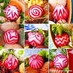 Encore plus de découpe adorable de radis par Instagram @kayomocopee. Wonderful radish carving