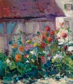 Guido Frick, Farmer's Garden in Switzerland, oil, 32 x 28.