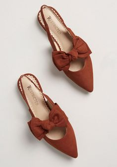 Total Sweetheart Slingback Flat - Offering a wide width and low heel, these rust-colored flats are as comfy as they are pretty! Made by Restricted, this faux-suede pair has an elasticized slingback design, a pointed toe, and a bow at the vamp. Cute Shoes, Me Too Shoes, Pretty Shoes, Girls Flats, Slingback Flats, Manolo Blahnik, Shoe Collection, Modcloth, Womens Flats