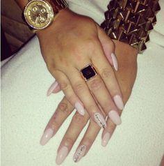 Pastel pink stilleto nails