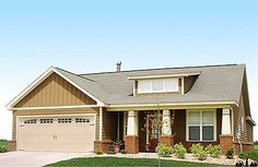 3 Bed Craftsman with Shed Dormer - thumb - 01 Porch Supports, Car Shed, Alternate Exterior, Craftsman Ranch, Shed Dormer, Ranch House Plans, Building A Shed, Shed Plans, Architecture Design