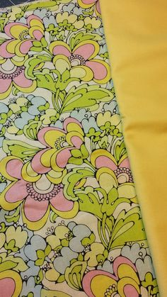 Large Pink Green & Yellow Florals w/ Yellow solid.