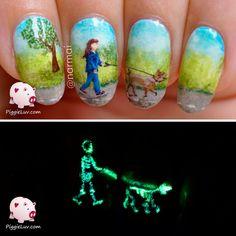 PiggieLuv: X-ray nail art (glow in the dark)
