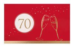 Festliche Geburtstags-Einladungskarte in rot mit Goldfolienprägung und runder Fensterstanzung Klappkarte aus rotem Tonkarton mit cremeweißem Falt-Einlegeblatt.In edlem Goldfoliendruck sind zwei sprudelnde Sektgläser und ein Goldrand auf die Vorderseite der Geburtstagseinladung geprägt.Eine runde Fensterstanzung zeigt das cremefarbene Einlegeblatt mit edlem Metallic-Effekt. Auf diesem Einlegeblatt kann auf der Vorderseite Ihre gewünschte Geburtstags-Jubiläumszahl so eingedruckt werden, dass… Creme Und Gold, Movie Posters, Paper, Invitation Text, Red, Circuit, Film Poster, Film Posters