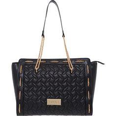 Liu Jo Black & Gold Tone Quilted Tote Bag