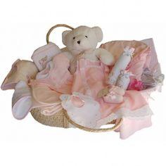 Canastilla regalo para bebé presentada en moisés para niño. Faldones, capa de baño, camisa de primera postura, chaqueta de bebe, saco de dormir, cambiador, juego de sábanas, portapañales.