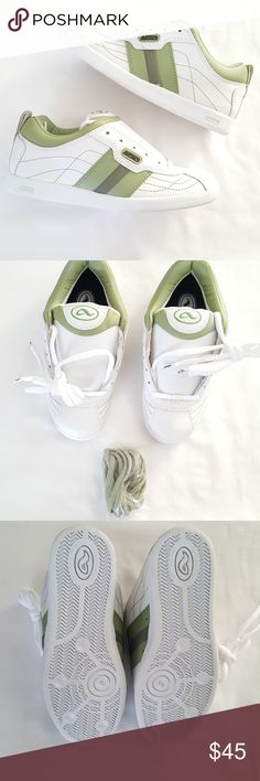 Adio || Opus white-lime Sneakers White-Lime. Tag reads: U.S. W8. / Euro 39. /U.K 5.5.  Made by skateboarding professionals. Superior cushioning. Maximum durability.  Comes with 2 sets of laces ( white and lime green). Adio Shoes Sneakers