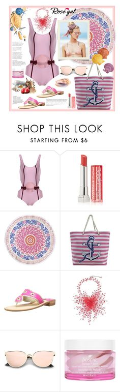 """""""Rosegal.Swimsuit"""" by natalyapril1976 on Polyvore featuring Mode, Maybelline, John Robshaw, Beach Riot, Jack Rogers, NOVICA und Boscia"""