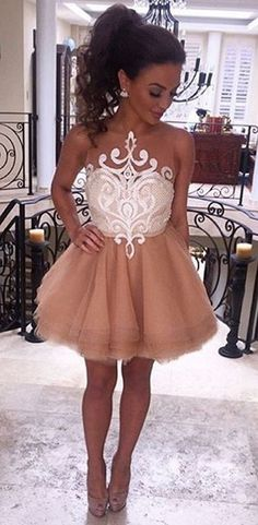 blush pink homecoming dress with white lace, 2017 short homecoming dress