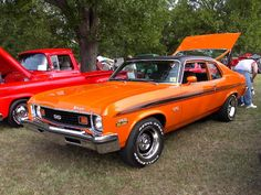 Orange & Black 1973 Chevrolet Nova    ----My first car looked something like this!!