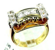 UNIQUE Vintage 14K (585) Multi 3 Tone Gold 1.30ct TDW Diamond Cocktail Ring B41. #Cocktail