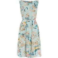 Blue floral prom dress ($29) ❤ liked on Polyvore featuring dresses, floral print prom dresses, pastel prom dresses, floral dress, blue green dress and prom dresses