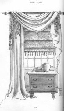 Dibujo a mano - Cortinas Intended to Measure curtains will set you back when they require ex Small Window Curtains, Roman Curtains, Curtains With Blinds, Window Shutters, Swag Curtains, Sheer Curtains, Panel Curtains, Drapery, Luxury Curtains