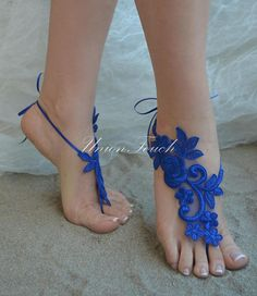 Royal Blue Barefoot Sandals Beach Wedding Lace Anklet Sandals Lace Wedding Shoes Royal Blue Beach Shoes Beach Sandals Bridal Sandals Bleu Barefoot Sandals Wedding, Bridal Sandals, Bridal Shoes, Wedding Shoes, Wedding Lace, Blue Sandals, Bare Foot Sandals, Beach Shoes, Beach Sandals