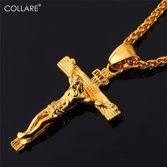 Collare INRI Crucifix Cross Necklace Gold/Rose Gold/Black Gun Color Stainless Steel Chain For Men Jewelry Jesus Piece P166 -  http://mixre.com/collare-inri-crucifix-cross-necklace-goldrose-goldblack-gun-color-stainless-steel-chain-for-men-jewelry-jesus-piece-p166/  #Necklace