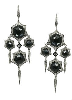 Stephen Webster 18-carat White Gold Forget Me Knot Drop Earrings with White Diamonds and Hematite Crystal Haze.