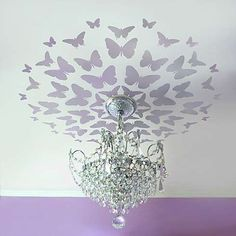 not going to stencil butterflies on our ceilings anytime soon but love the idea of butterflies on the ceiling!!!