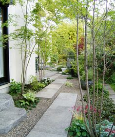 Long, staggered pavers lead the eye deeper into the garden.