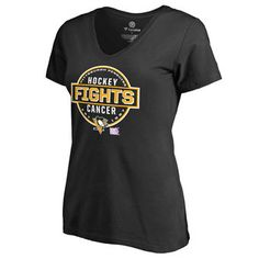 Women's Pittsburgh Penguins Black Hockey Fights Cancer Conquer Slim Fit V-Neck T-Shirt