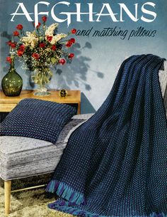 Afghans and Matching Pillows | Coats & Clark's O.N.T. Book No. 505 ~ lots of colorful, vibrant designs (free vintage patterns)