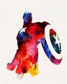 Marvel Poster - Avengers - Captain America _ Watercolor Painting Wall Art Wall Decor Art Home Decor Wall Decor Captain America Tattoo, Captain America Poster, Marvel Captain America, Marvel Art, Marvel Heroes, Marvel Avengers, Marvel Tattoos, Capitan America Marvel, Die Rächer