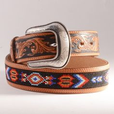 Tan Tooled Belt with Beading