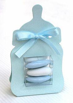 3 mini biberons bleu contenants à dragées pour baptême