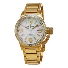 TW Steel Women's TW310 'Canteen' Mother of Pearl Dial Yellow tone Austrian Crystal Quar