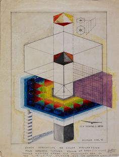 "Buckminster Fuller, 4D Tower: Time Interval 1 Meter, 1928, Gouache and graphite over positive Photostat on paper, 14 x 10 7/8"", Avery Architectural and Fine Arts Library, Columbia University in the City of New York, Image courtesy Avery Architectural and Fine Arts Library, Columbia University in the City of New York."