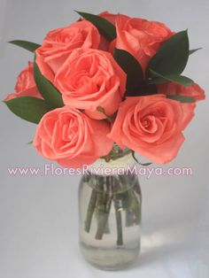 #coral #roses affordable florist cancun and riviera maya