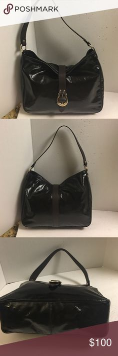 Kate spade Black and brown patent leather hobo This is a beautiful Kate spade black patent leather hobo with brown leather shoulder strap. Features goldtone hardware. Brown leather strap with magnetic closure main compartment. Inside lining is polkadot. Very clean inside and out. No significant signs of wear at all. Has a zipper pocket inside pockets inside. No dust bag. kate spade Bags Hobos