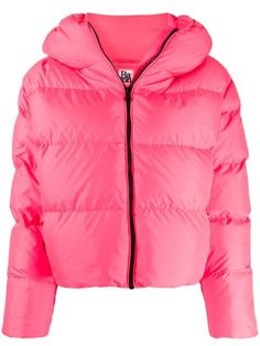 BACON HOODED PADDED JACKET. #bacon #cloth Padded Jacket, Leather Jacket, Funnel Neck, Size Clothing, Baby Design, Pretty In Pink, Hoods, Bacon, Women Wear