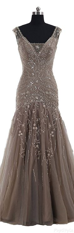 Cocomelody Long Beaded Evening Gown