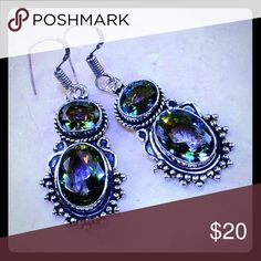 "MYSTICAL TOPAZ SILVER .925 EARRINGS MYSTICAL TOPAZ STERLING SILVER .925 EARRINGS 2"" - MAIN GEMSTONE SIZE 10-15mm (.39-.59"")  BRAND NEW IN BOUTIQUE PLASTIC PACKAGING Jewelry Earrings"