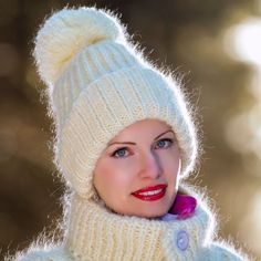 Ivory Hand Knitted Mohair Hat Fuzzy Cream Warm Winter Ski Thick Cap SUPERTANYA #SuperTanya #Ski